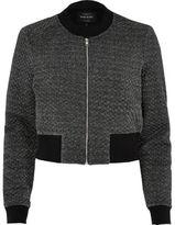 River Island Womens Dark grey metallic cropped bomber jacket