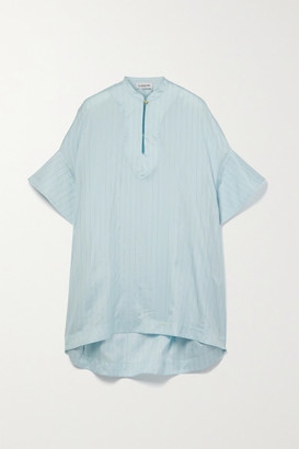 Lanvin Oversized Pinstriped Silk-blend Lurex Blouse - Light blue