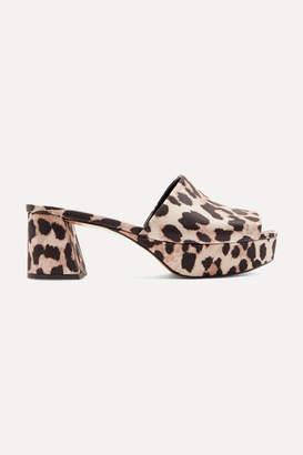 Ganni Leopard-print Platform Mules - Leopard print