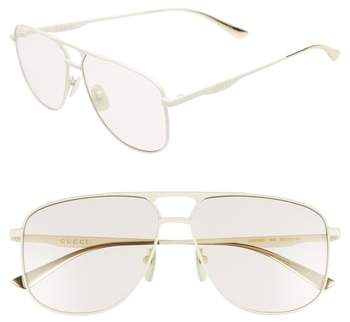 Gucci 80s Monocolor 60mm Aviator Sunglasses