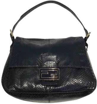Fendi Mamma Baguette Black Python Handbags