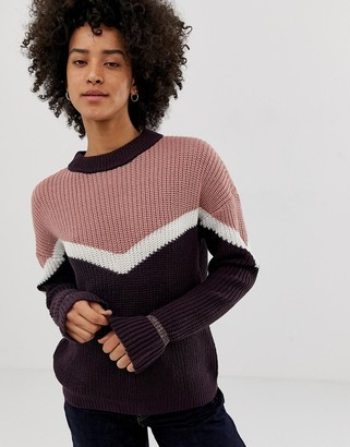Pieces Karen color block ribbed knit sweater