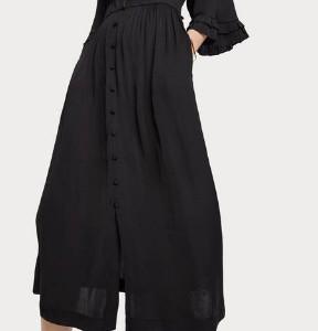 Scotch & Soda V Neck Soft Black Midi Dress - XS