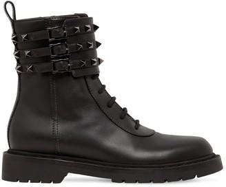 Valentino 20mm Rockstud Leather Combat Boots