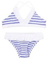 Melissa Odabash Blue and White Stripe Triangle Bikini