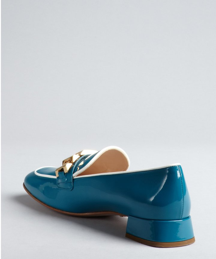 Prada Turquoise And White Patent Leather Chain Details Loafers