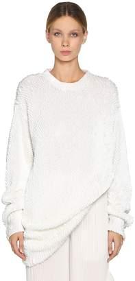 Krizia Oversize Sequined Cotton Knit Sweater