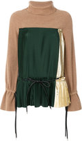 Sacai pleated detail jumper - women - Cotton/Nylon/Polyester/Wool - 2