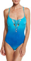 Nanette Lepore Solola Goddess One-Piece Swimsuit, Turquoise