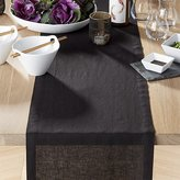 "Crate & Barrel Helena Black Linen 90"" Table Runner"