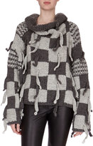 Loewe Chunky-Knit Checkerboard Sweater, Gray