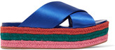 Miu Miu Satin Platform Sandals - Bright blue