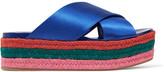 Miu Miu Satin Platform Sandals - Bright blue