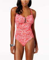 Swim Solutions Tummy-Control Beaded One-Piece Swimsuit Women's Swimsuit