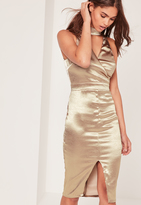 Missguided Satin High Neck Cut Out Midi Dress Gold