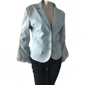 Gianni Versace Blue Leather Jacket for Women Vintage