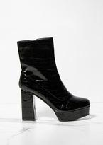 Missy Empire Margot Black Patent Platform Boots