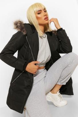 boohoo Faux Fur Trim Hooded Zip Detail Puffer Coat