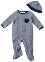 Little Me Newborn/Infant Boys) Two-Piece Stripe Footie & Hat Set