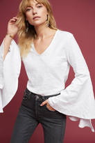 Anthropologie V-Neck Bell-Sleeve Top