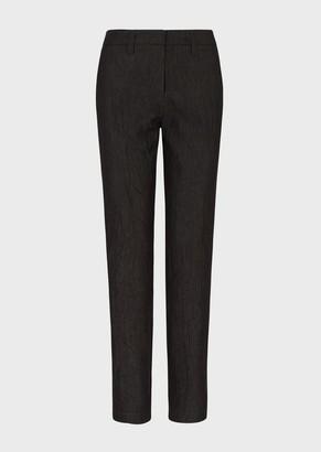Emporio Armani Cigarette Trousers In Wrinkle-Effect Denim