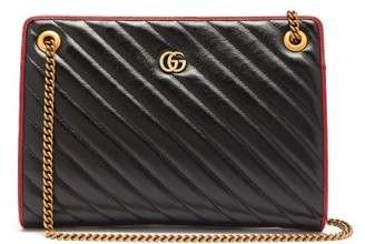 Gucci GG Marmont Leather Shoulder Bag - Womens - Black Multi