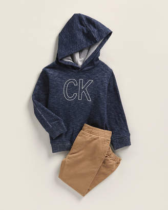 Calvin Klein Jeans Toddler Boys) Two-Piece Logo Hooded Top & Twill Joggers Set