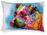 """CafeTime Funny Pet Pitbull Pillow Covers Art Pet Dog Throw Pillowcase Customize Soft Cotton Two Sides Pillow Case Sleep Covers For Home Sofa Couch Chair Seat Standard 20""""x30"""""""