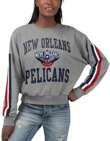 G Iii Women's G-III 4Her by Carl Banks Gray New Orleans Pelicans Slouchy Rookie French Terry Pullover Sweatshirt