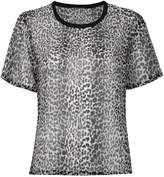 Saint Laurent leopard print semi-sheer T-shirt