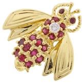 Tiffany & Co. 18K Yellow Gold Ruby and Diamond Bee Brooch