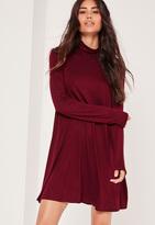 Missguided Turtle Neck Long Sleeve Jersey Swing Dress Burgundy