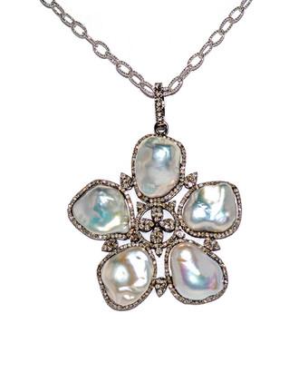 Arthur Marder Fine Jewelry Silver 2.00 Ct. Tw. Diamond & 14Mm Pearl 30In Necklace