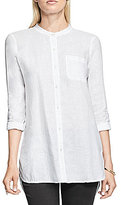 Vince Camuto TWO by Long Sleeve Collarless One-Pocket Linen Shirt