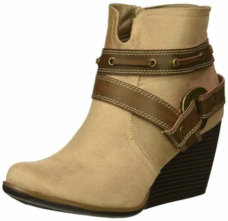 Sugar Women's HUMS Casual Belted Wedge Heel Ankle Boot