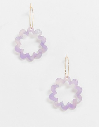 ASOS DESIGN hoop earrings with resin flower charm in gold tone