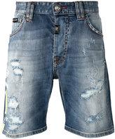 Philipp Plein distressed printed denim shorts - men - Cotton/Spandex/Elastane - 27