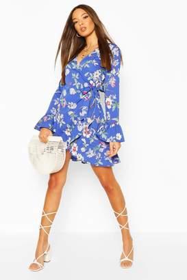 boohoo Floral Wrap Ruffle Tea Dress