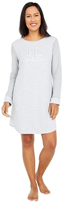 Lauren Ralph Lauren Double Knit Logo Long Sleeve Sleep Tee (Heather Stripe) Women's Pajama