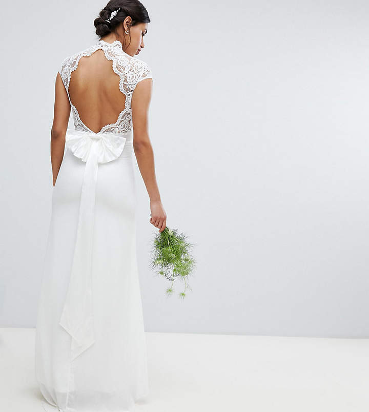 TFNC Bridal Maxi Bridal Dress With Scalloped Lace And Open Back