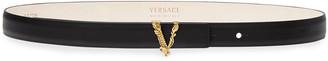 Versace V Buckle Leather Belt
