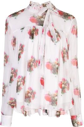 Adam Lippes High Neck Floral Print Blouse