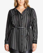 City Chic Trendy Plus Size Striped Tunic Shirt