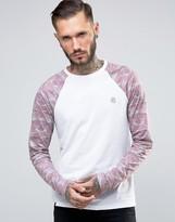 Le Breve Longline Contrast Camo Curved Hem T-shirt