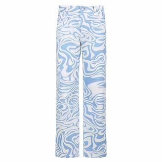 hellomiko Women's Fashion Loose Zebra Printed Striped Wide Leg High Waist Casual Denim Pants Straight Jeans Y2K Streetwear Fashion