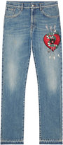 Gucci Denim straight pants with embroidery - men - Cotton - 34