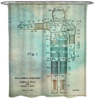 "Oliver Gal Full Pressure Flight Suit, 1961"" Shower Curtain, 71""x74"""