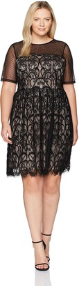 London Timesn London Times Women's Plus Size Fit & Flare Dress w. Illusion Neckline