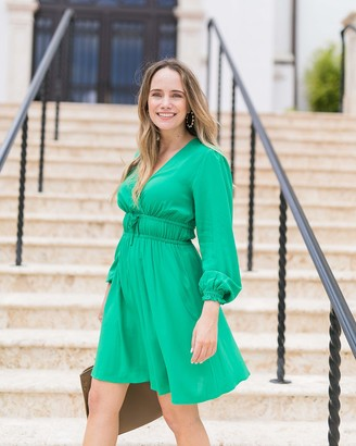The Drop Women's Emerald Crossover-Front Dress by @graceatwood XS