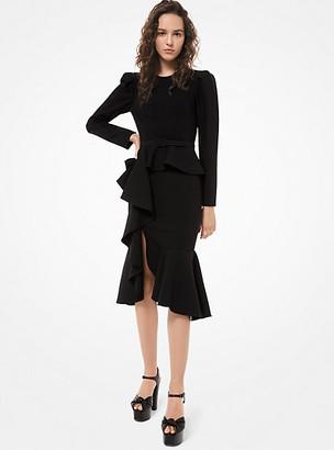 Michael Kors Stretch-Crepe Ruffle Dress